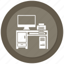 computer, computer desk, computer table, off, printer icon