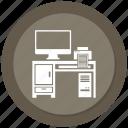 computer, computer desk, computer table, off, printer