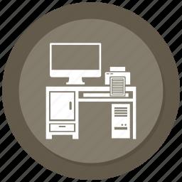 computer, computer desk, computer table, off, printer icon