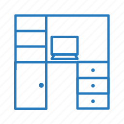 accessories, computer, doors, laptop, row, table icon