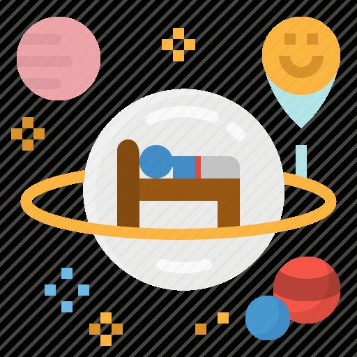 future, hotel, space, transportation icon