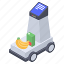 automatic cart, automatic trolley, grocery trolley, shopping trolley, stock trolley icon