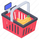 grocery bucket, hamper, picnic basket, shopping basket, shopping bucket icon