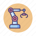 automated, engineering, manufacturing, robotic, robotic arm, robotics icon