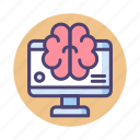 brain, interface, machine learning, smart monitor icon