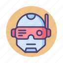 augmentation, cyberpunk, cyborg, robocop, robot icon