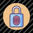 fingerprint, lock, locked, padlock, privacy, protection, secure icon