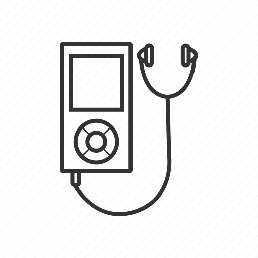 gadget, line, mp3, multimedia, music, portable, smartphone icon
