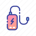 bank, battery, charger, gadget, phone, portable, power icon