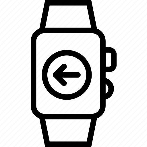 arrow, entertainment, equipment, gadgets, left, watch, wrist icon