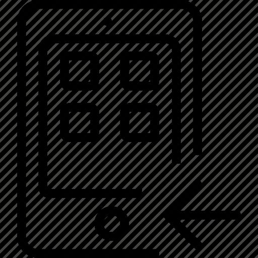 arrow, entertainment, equipment, gadgets, left, tablet icon