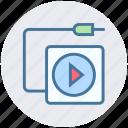 audio songs, device, media, mp3, multimedia, wire icon