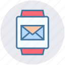 email, envelope, gadget, message, smart watch, watch icon