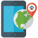 global navigation, gps app, mobile tracking, navigation app, phone tracking icon