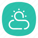 climate, cloud, forecast, outdoors, outside, sun, weather icon