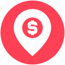 direction, dollar sign, location, map location, map pin, pin icon