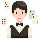 avatar, croupier, job, casino, gambling, profession, occupation icon