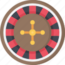 betting, casino, gambling, games, roulette, wheel icon