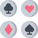betting, card, casino, gambling, playing cards, suits icon