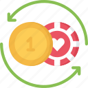 and, betting, casino, chips, coins, swap, trade icon