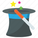 magic cap, magic hat, magic wand, magician hat, wizard hat icon