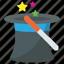magic cap, magic hat, magic wand, magician hat, wizard hat icon
