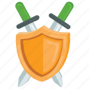 armour shield, fighting game, shield, sword cross icon