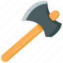 axe, axe tool, axe weapon, blade, woodcutting icon