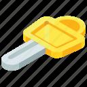 gold key, key, master key, padlock key, unlock key