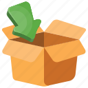 box pack, cardboard box, cardboard box with arrow, opened box, parcel cardboard icon