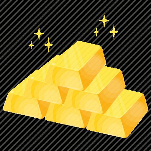 game bonus, gold asset, gold bricks, gold stack, wealth icon