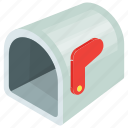 cartoon mailbox, empty mailbox, letterbox, mailbox, residential mailbox icon