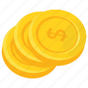 coin stack, coins, dollar coins, gold coins, pile of coins icon