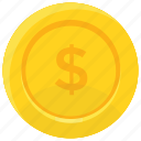 coin, dollar coin, gold coin, money symbol, single coin icon