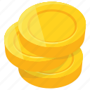 coin stack, coins, dollar coins, gold coins, pile of coins