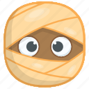cartoon character, dead man, fleshy wrapped, mummy, zombie face icon