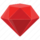 diamond, diamond mine game, gem, red jewel, ruby icon
