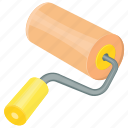 paint brush, paint roller, renovation tool, rolling brush, wall painting icon