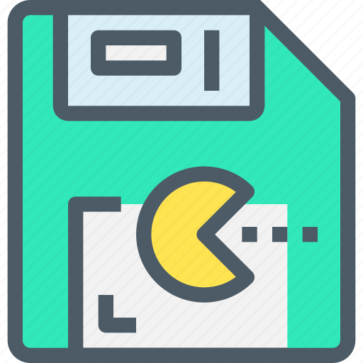 disk, entertainment, game, pacman, save, technology icon