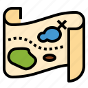 adventure, bandits, game, map, pirate, travel, weapon icon