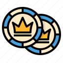 casino, chip, coins, disc, game, reward, tokens icon