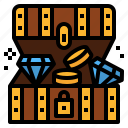 bandits, chest, coins, diamond, pirate, treasure icon