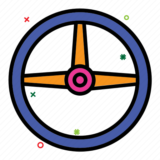 automobile, car game, steering wheel, turn, video game icon