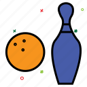 bowling ball, bowling pins, game, sports, strike, tenpins icon