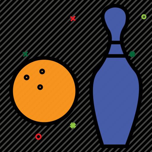bowling ball, bowling pins, game, sports, strike, tenpins icon