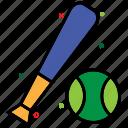 baseball, baseball ball, baseball bat, bat ball game, stick, team sport icon