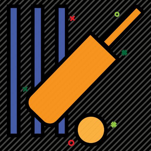 bat ball, cricket, outdoor game, sport, stump icon