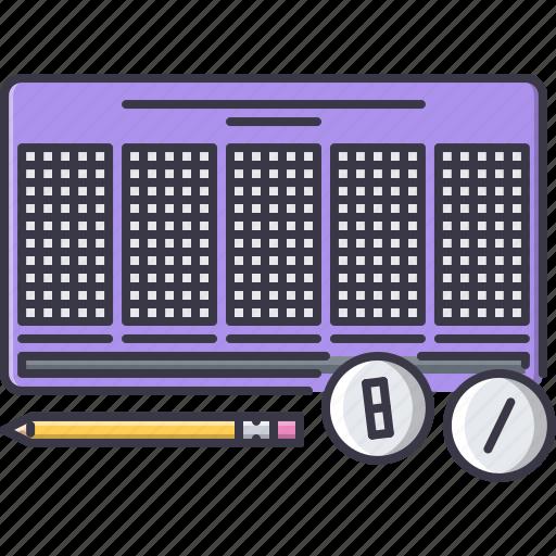 ball, fun, game, lottery, party, pencil icon