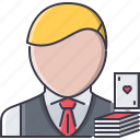 cards, casino, croupier, fun, game, party icon