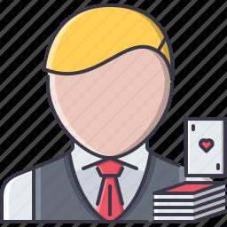 cards, casino, croupier, fun, game, party icon
